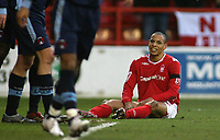 Photo: Paul Thomas.<br /> Nottingham Forest v Leyton Orient. Coca Cola League 1. 16/12/2006.<br /> <br /> Forest's Nathan Tyson can't believe his luck in missing a great chance to score.