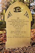 Fist World War family memorial gravestone  graveyard  village parish church of All Saints, Yatesbury, Wiltshire, England, UK