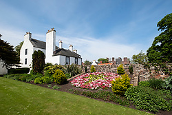 View of gardens at North Berwick Lodge, in East Lothian, Scotland, United Kingdom, UK