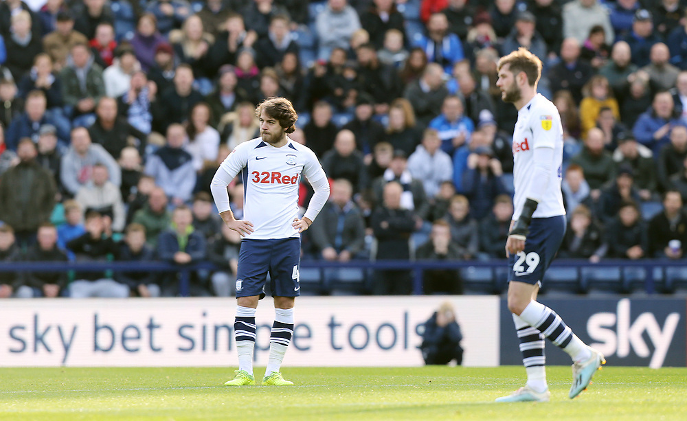 Preston North End's Ben Pearson (left) and Tom Barkhuizen look dejected after Blackburn Rovers scored their opening goal <br /> <br /> Photographer Rich Linley/CameraSport<br /> <br /> The EFL Sky Bet Championship - Preston North End v Blackburn Rovers - Saturday 26th October 2019 - Deepdale Stadium - Preston<br /> <br /> World Copyright © 2019 CameraSport. All rights reserved. 43 Linden Ave. Countesthorpe. Leicester. England. LE8 5PG - Tel: +44 (0) 116 277 4147 - admin@camerasport.com - www.camerasport.com