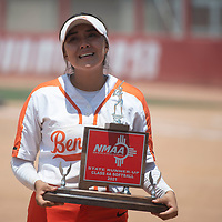 Gallup Bengals shortstop Savannah Watson tries to compose herself as she poses for a photo with the NMAA State Runner-Up trophy after their loss to Artesia Saturday in Albuquerque.
