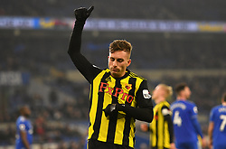 Watford's Gerard Deulofeu celebrates his side's fourth goal of the game with team-mate during the Premier League match at the Cardiff City Stadium.