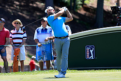 June 21, 2018 - Cromwell, CT, U.S. - CROMWELL, CT - JUNE 21: Ryan Moore of the United States hits from the 18th tee during the First Round of the Travelers Championship on June 21, 2018, at TPC River Highlands in Cromwell, Connecticut. (Photo by Fred Kfoury III/Icon Sportswire) (Credit Image: © Fred Kfoury Iii/Icon SMI via ZUMA Press)