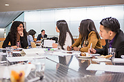 Purchase, NY – 31 October 2014. Paola Ferreira, left, and team members from Lincoln High School. The Business Skills Olympics was founded by the African American Men of Westchester, is sponsored and facilitated by Morgan Stanley, and is open to high school teams in Westchester County.
