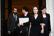 March 16, 2016 - Athens, Attica, Greece - <br /> <br /> Angelina Jolie Visits Refugee Camp in Greece<br /> <br /> Hollywood star and UN refugee agency envoy Angelina Jolie leaves the Greek Prime minister's office in Athens following a meeting with Greek Prime minister on March 16, 2016<br /> ©Exclusivepix Media