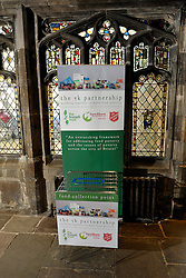© Licensed to London News Pictures. 12/12/2013; Bristol, UK.  A food donation point at Bristol Cathedral for Bristol food banks.  A wide range of people use the food bank service, both those on benefits and those in work, and from a wide range of backgrounds.  Ffi: bristolnwfoodbank.org.uk  12 December 2013.<br /> Photo credit : Simon Chapman/LNP