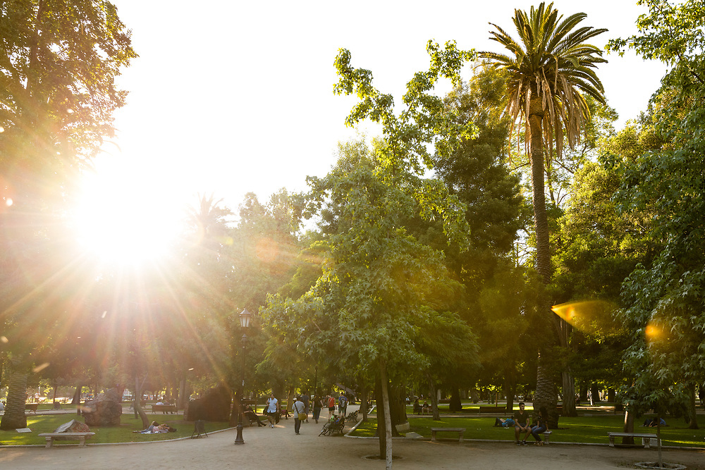 Santiago, Region Metropolitana, Chile - People walking and relaxing in the Forestal Park, the more traditional urban park in the city.