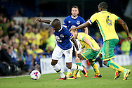 Enner Valencia of Everton looks to make a break. EFL Cup, 3rd round match, Everton v Norwich city at Goodison Park in Liverpool, Merseyside on Tuesday 20th September 2016.<br /> pic by Chris Stading, Andrew Orchard sports photography.
