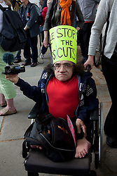 ©under licence to London News Pictures. Thousands of disabled people march through Central London on the Hardest Hit March to protest against budget cuts for ill and disabled people. 11/05/2011. Photo credit should read Bettina Strenske/LNP.