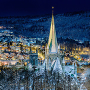The picture has been taken in a cold but beautiful January night. Nidaros Cathedral is the world's northernmost medieval cathedral and Norway's national sanctuary located in Trondheim.