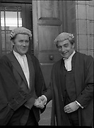 An Tanaiste Called To The Bar.  (P2)..1981..16.11.1981..11.16.1981..16th November 1981..An Tanaiste, Mr Michael O'Leary TD was called to the Bar at The Supreme Court in Dublin today...Image shows Mr O'Leary being congratulated by Attorney General, Mr Peter Sutherland at the Four Courts.