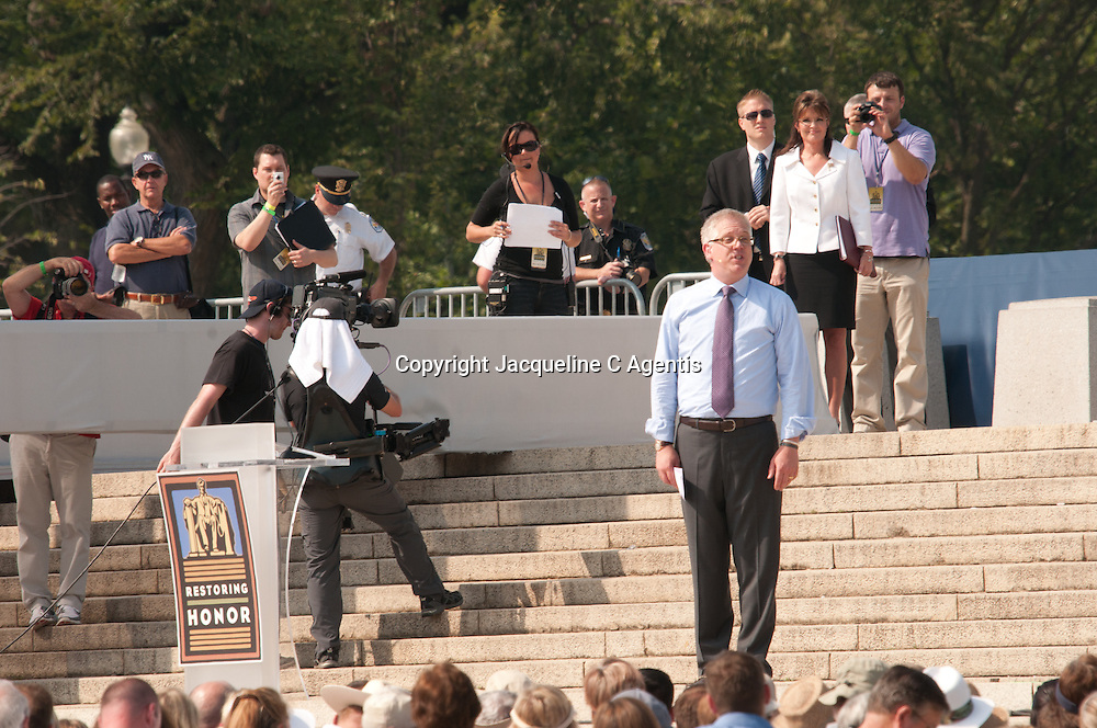 """Washington DC Glen Beck introducing Sarah Palin at the Restoring Honor Rally on the steps of the Lincoln Memorial on the same day as the Martin Luther King's Speech, """"I Have A Dream""""..."""