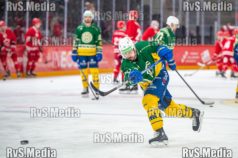 LAUSANNE, SWITZERLAND - SEPTEMBER 24: Matej Stransky #44 of HC Davos warms up prior the Swiss National League game between Lausanne HC and HC Davos at Vaudoise Arena on September 24, 2021 in Lausanne, Switzerland. (Photo by Monika Majer/RvS.Media)