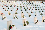 65095-02917 Wreaths on graves in winter Jefferson Barracks National Cemetery St. Louis,  MO