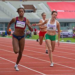 30-07-2011 ATLETIEK: NK OUTDOOR: AMSTERDAM<br /> (L-) Jamile Samuel, Femke van der Meij series 100 meter vrouwen<br /> ©2011-FotoHoogendoorn.nl / Peter Schalk