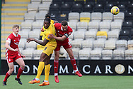 Aberdeen's Andrew Considine (4) and Jay Emmanuel-Thomas (9) of Livingston heads the ball, aeriel challenge during the Scottish Premiership match between Livingston and Aberdeen at Tony Macaroni Arena, Livingstone, Scotland on 1 May 2021.