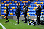 AFC Wimbledon manager Glyn Hodges and Sunderland manager Lee Johnson watching game from touchline during the EFL Sky Bet League 1 match between AFC Wimbledon and Sunderland at Plough Lane, London, United Kingdom on 16 January 2021.