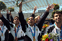 28/08/04 - ATHENS - GREECE -  - OLYMPIC FOOTBALL - FINAL MATCH - MENS  -  <br />ARGENTINA (1) Vs. PARAGUAY (0) At the Olympic Stadium in Athens. Argentine win the goal medal<br />Argentine players celebration. Here CESAR DELGADO - CARLOS TEVEZ and JAVIER MASCHERANO -<br />© Gabriel Piko / Argenpress.com / Piko-Press