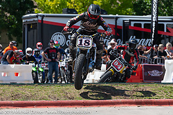 Super Hooligan qualifying heat at the Revival and Roland Sands sponsored races on a tight TT race course set up in the parking lot of the Austin American Statesman outside during the Handbuilt Show. Austin, Texas USA. Saturday, April 13, 2019. Photography ©2019 Michael Lichter.