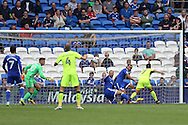 Cardiff city players Matthew Connolly and Jazz Richards clear off the line from Reading's Roy Beerens.  EFL Skybet championship match, Cardiff city v Reading at the Cardiff city stadium in Cardiff, South Wales on Saturday 27th August 2016.<br /> pic by Andrew Orchard, Andrew Orchard sports photography.