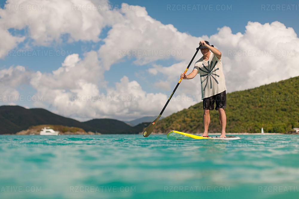 Mark Anders stanup paddling in Hawksnest Bay, St. John, USVI. Photo © Robert Zaleski / rzcreative.com<br /> —<br /> To license this image for editorial or commercial use, please contact Robert@rzcreative.com