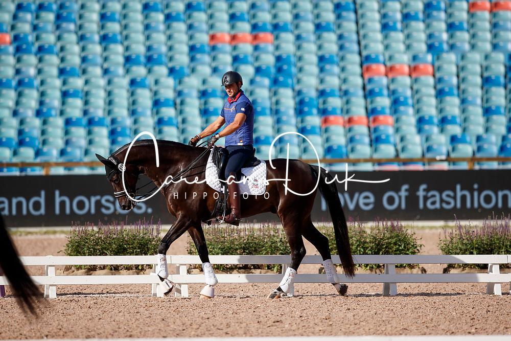 Domingo Coll Jordi, ESP, Mango Statesman<br /> Training dressage<br /> European Championships Göteborg 2017<br /> © Hippo Foto - Stefan Lafrenz