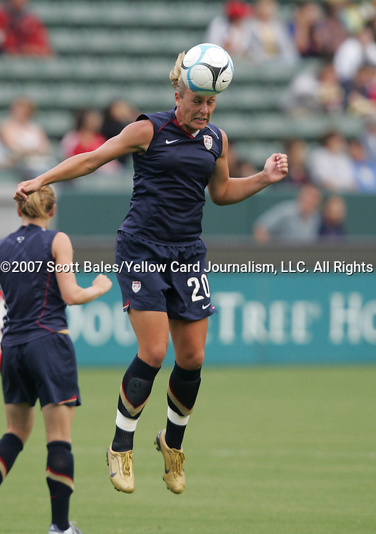 25 August 2007: Abby Wambach. The United States Women's National Team defeated the Women's National Team of Finland 4-0 at the Home Depot Center in Carson, California in an International Friendly soccer match.