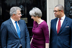© Licensed to London News Pictures. 08/01/2018. London, UK. Prime Minister Theresa May poses with Brandon Lewis (L) the newly appointed Minister without Portfolio and Conservative Party Chair and James Cleverly (R) new Conservative Party Deputy Chairman in Downing Street following a cabinet reshuffle on Monday, 8 January 2018. Photo credit: Tolga Akmen/LNP