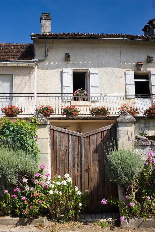Typically French house in Bourdeilles popular tourist destination near Brantome in Northern Dordogne, France