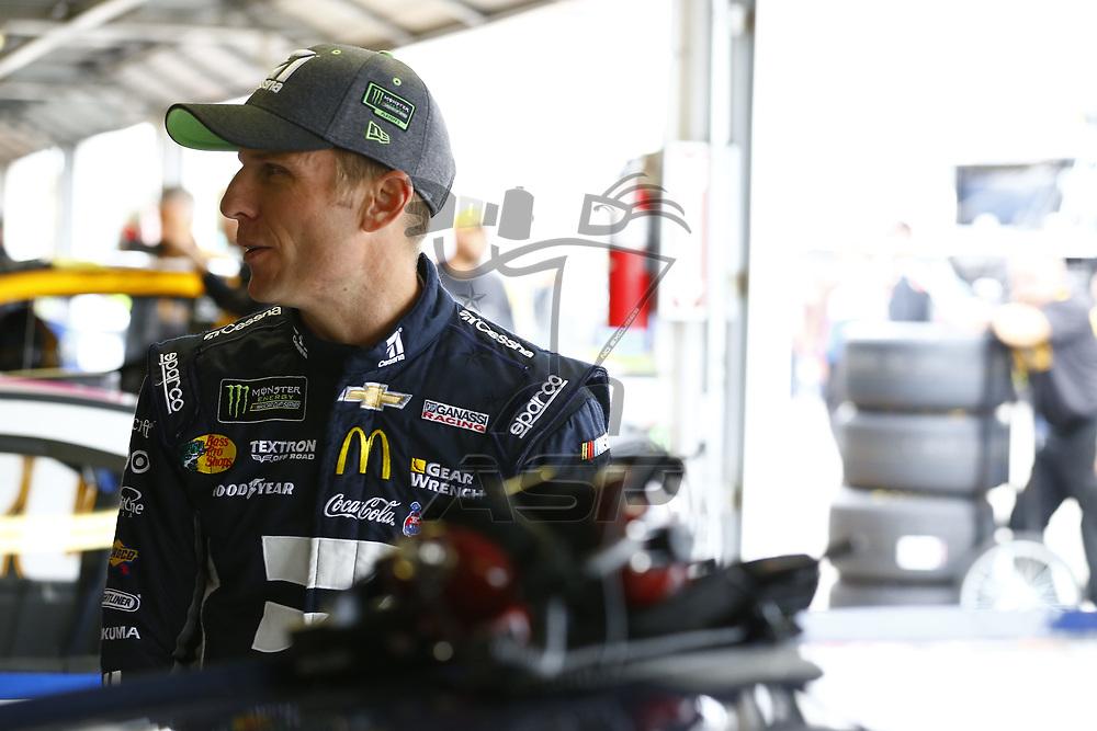 October 21, 2017 - Kansas City, Kansas, USA: Jamie McMurray (1) hangs out in the garage during practice for the Hollywood Casino 400 at Kansas Speedway in Kansas City, Kansas.