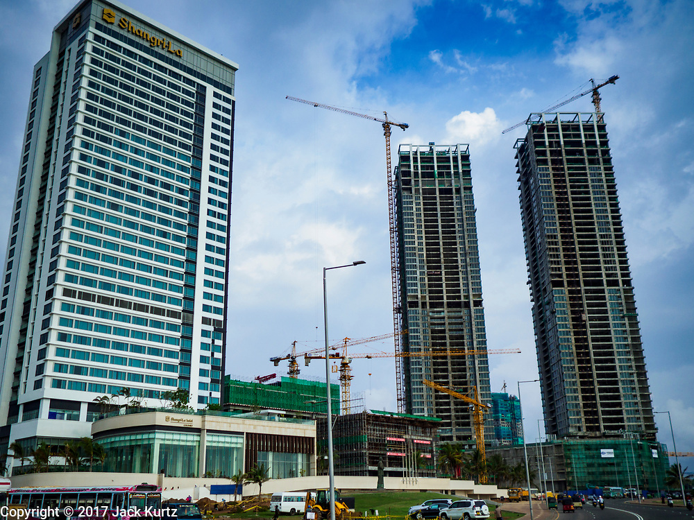 05 OCTOBER 2017 - COLOMBO, SRI LANKA: Construction of Chinese financed hotels and office buildings along Galleface in Colombo, Sri Lanka.    PHOTO BY JACK KURTZ
