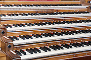 close up of an organ keyboard