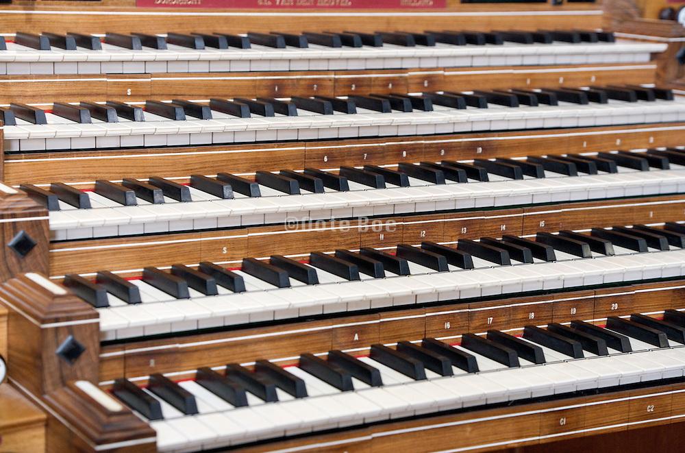close up of an organ keyboard