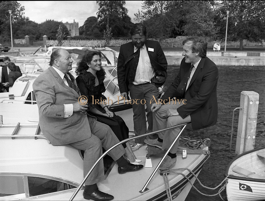 """Galway Oyster Festival..1982.09.09.1982.09.09.1982.9th September 1982..The Festival was held on the banks of the Shannon at Portumna Co.,Galway..It was held in the picturesque new marina. The event was sponsored by Guinness. Emerald Star line were also represented.Picture shows Mr.R.B.Howick,Trade Director,Guinness Group Sales.Ms Marion Fitzpatrick, Oyster Festival """"Pearl"""". Mr John Lefroy, Manager, Emerald Star Line and Festival Chairman Mr. Donal Morrissy"""