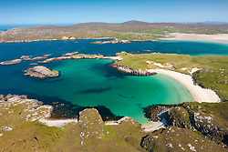 Aerial view from drone of Uig sands beach from Carnish  on west coast of Isle of Lewis , Outer Hebrides, Scotland, UK