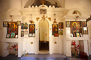 Interior of the the  17th Century Byzantine Greek Orthodox Monastery of Agia Anna ( St Anne) 17th Century .<br /> <br /> Visit our GREEK HISTORIC PLACES PHOTO COLLECTIONS for more photos to download or buy as wall art prints https://funkystock.photoshelter.com/gallery-collection/Pictures-Images-of-Greece-Photos-of-Greek-Historic-Landmark-Sites/C0000w6e8OkknEb8