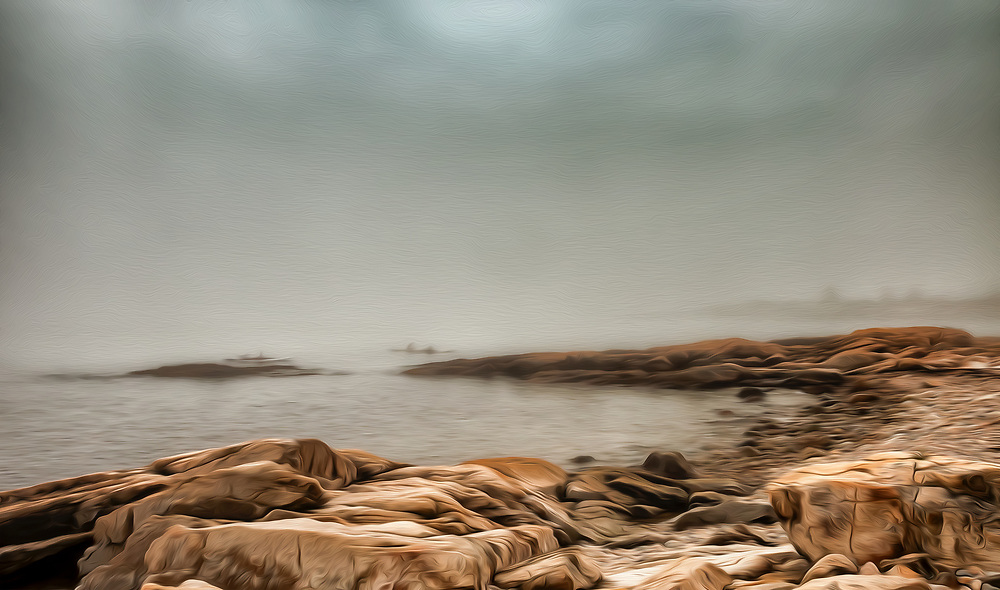 An artistic interpretation of successive rocky points echoing each other as they fade into the coastal fog. Kayekers pass in the middle distance . In the artistic treatment, foreground rocks are suggestive of seals, hauled out and basking.