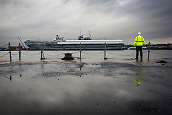 The Queen Elizabeth Aircraft Carrier under construction at the Babcock site in Rosyth dockyard.