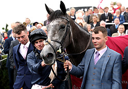 Jockey Ryan Moore after winning the Qatar Nassau Stakes on Winter during Ladies Day of the Qatar Goodwood Festival at Goodwood Racecourse.