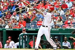 May 6, 2018 - Washington, DC, U.S. - WASHINGTON, DC - MAY 06:  Washington Nationals first baseman Matt Adams (15) hits a solo home run in the second inning during the game between the Philadelphia Phillies and the Washington Nationals on May 6, 2018, at Nationals Park, in Washington D.C.  The Washington Nationals defeated the Philadelphia Phillies, 5-4.  (Photo by Mark Goldman/Icon Sportswire) (Credit Image: © Mark Goldman/Icon SMI via ZUMA Press)