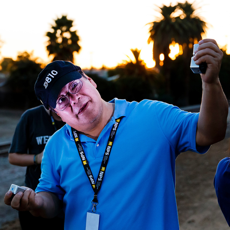 161103 Boxing, La Habra, Boxing Club<br /> Robert Hanashiro plays around with lime cubes outside the La Habra, Boxing Club during the Sports Shooter Academy 13.<br /> © Daniel Malmberg/Sports Shooter Academy 13 Behind the Scenes with the cast and crew of Sports Shooter Academy.