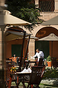 Monasterio Hotel courtyard and restaurant area, Cusco, Peru, South America