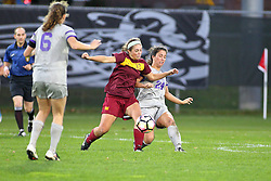 04 November 2016: Vivien Shultz(13) & Colleen Dierkes  during an NCAA Missouri Valley Conference (MVC) Championship series women's semi-final soccer game between the Loyola Ramblers and the Evansville Purple Aces on Adelaide Street Field in Normal IL