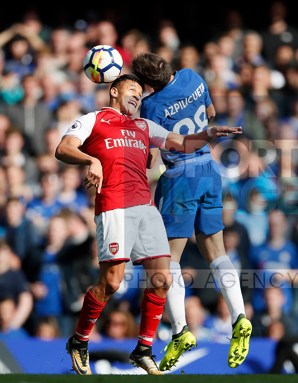 Chelsea's Cesar Azpilicueta tussles with Arsenal's Alexis Sanchez during the premier league match at Stamford Bridge Stadium, London. Picture date 17th September 2017. Picture credit should read: David Klein/Sportimage