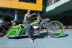 """Greg """"The Goat"""" Cook on a beautiful bagger all the way from the Full Throttle Saloon in Sturgis, SD at the Harley-Davidson Grand Opening Party at the Daytona Beach Bandshell during the Daytona Bike Week 75th Anniversary event. FL, USA. Monday March 7, 2016.  Photography ©2016 Michael Lichter."""