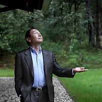 Nederland, Leusden , 14 september 2010.. De Amerikaanse filosoof Francis Fukayama bij de School van Wijsbegeerte..The American philosopher Francis Fukayama at the School of Philosophy.
