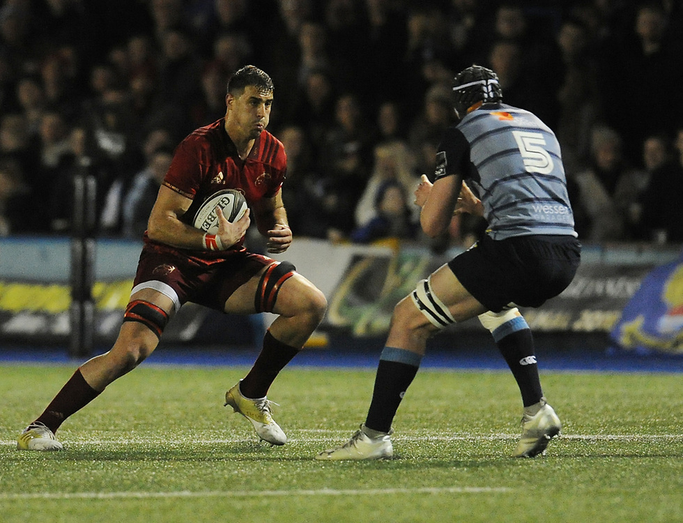 Munster's Gerbrandt Grobler under pressure from Cardiff Blues' Seb Davies<br /> <br /> Photographer Kevin Barnes/CameraSport<br /> <br /> Guinness Pro14 Round 15 - Cardiff Blues v Munster Rugby - Saturday 17th February 2018 - Cardiff Arms Park - Cardiff<br /> <br /> World Copyright © 2018 CameraSport. All rights reserved. 43 Linden Ave. Countesthorpe. Leicester. England. LE8 5PG - Tel: +44 (0) 116 277 4147 - admin@camerasport.com - www.camerasport.com
