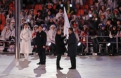 President of the International Paralympic Committee Andrew Parsons hand the Paralympic flag to The Mayor of Beijing Chen Jining during the Closing Ceremony for the PyeongChang 2018 Winter Paralympics in South Korea.