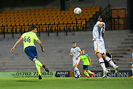 Derby's Tim Elsnick heads wide during the Pre-Season Friendly match between Port Vale and Derby County at Vale Park, Burslem, England on 18 July 2017. Photo by John Potts.