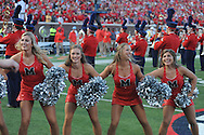 Mississippi Rebels cheerleaders at Vaught-Hemingway Stadium at Ole Miss in Oxford, Miss. on Saturday, September 26, 2015. (AP Photo/Oxford Eagle, Bruce Newman)